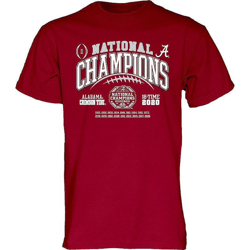 The Blue Brand Alabama Crimson Tide National Champs T Shirt 2020-2021 Laces 00000000BM7G4GILT CFP20 NC-ALA (The Blue Brand)
