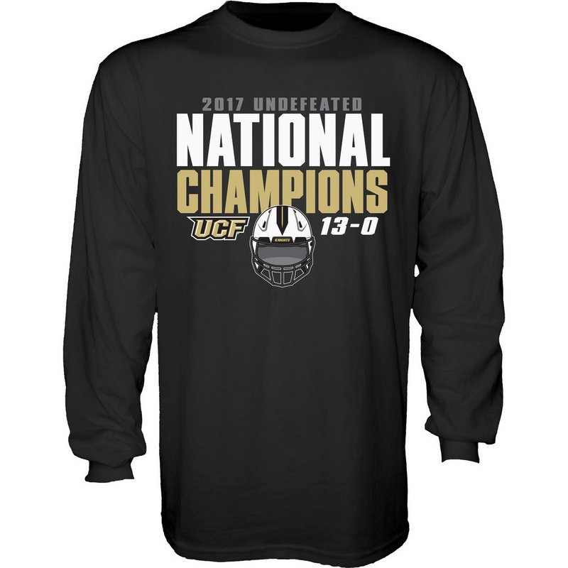 UCF Knights National Champs Long Sleeve Tshirt Black Helmet SAUCIER UNDEFEATED FTBALL-CFL