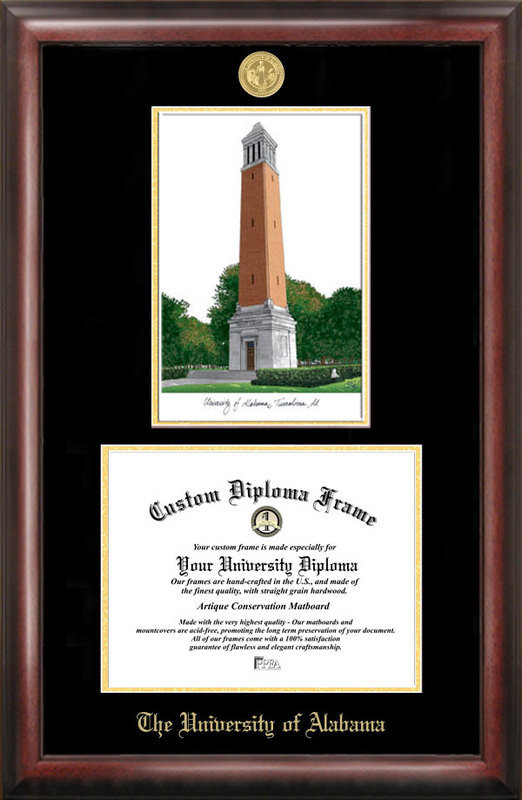 University of Alabama Gold Embossed Diploma Frame with Campus Images Lithograph DSCI-al993lged