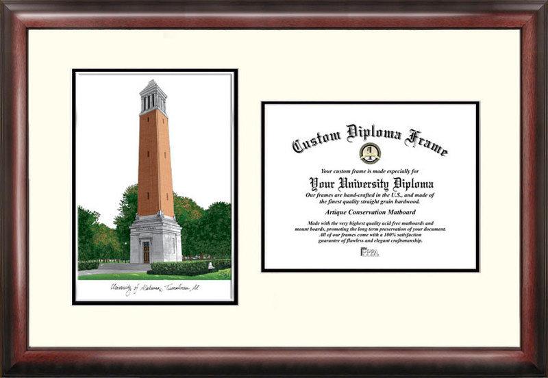 University of Alabama Tuscaloosa Scholar Diploma Frame DSCI-al993v