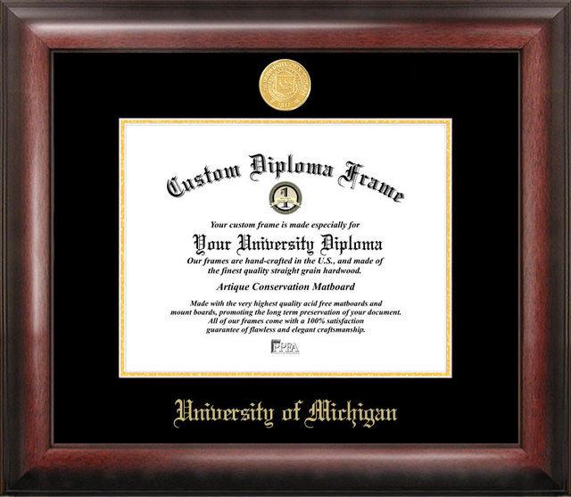 University of Michigan Gold Embossed Diploma Frame DSCI-mi982ged
