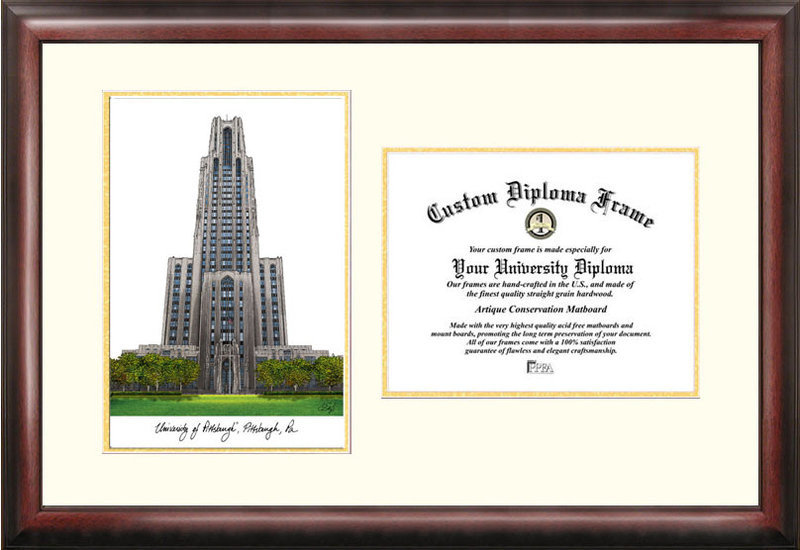 University of Pittsburgh Scholar Framed Lithograph with Diploma - Great Quality DSCI-pa993v