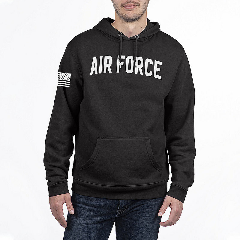 US Air Force Armed Forces Military Hooded Sweatshirt Black