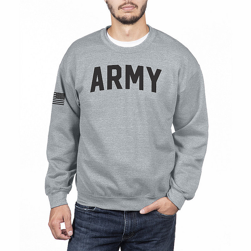 US Army Armed Forces Military Crewneck Sweatshirt Gray
