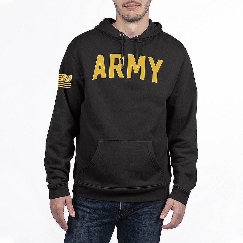 US Army Armed Forces Military Hooded Sweatshirt Black