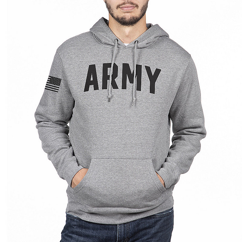 US Army Armed Forces Military Hooded Sweatshirt Gray