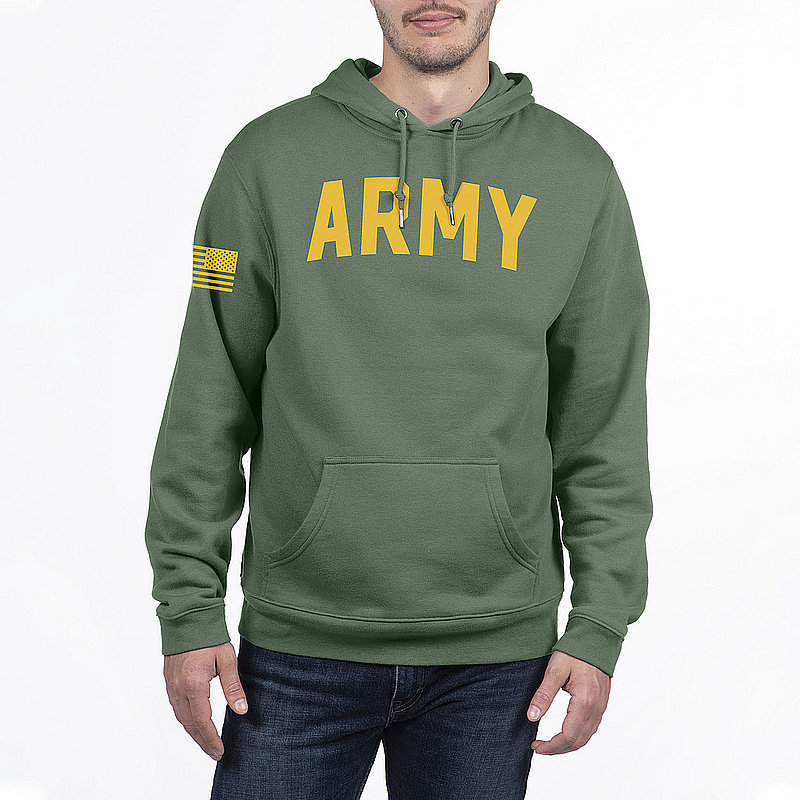 US Army Armed Forces Military Hooded Sweatshirt Military Green