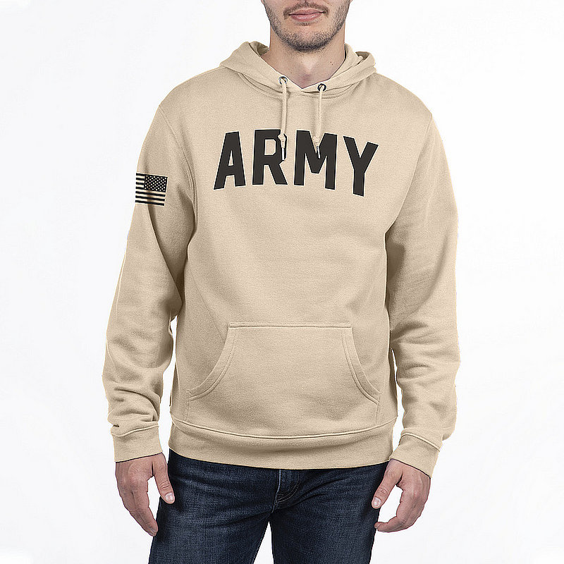 US Army Armed Forces Military Hooded Sweatshirt Sand