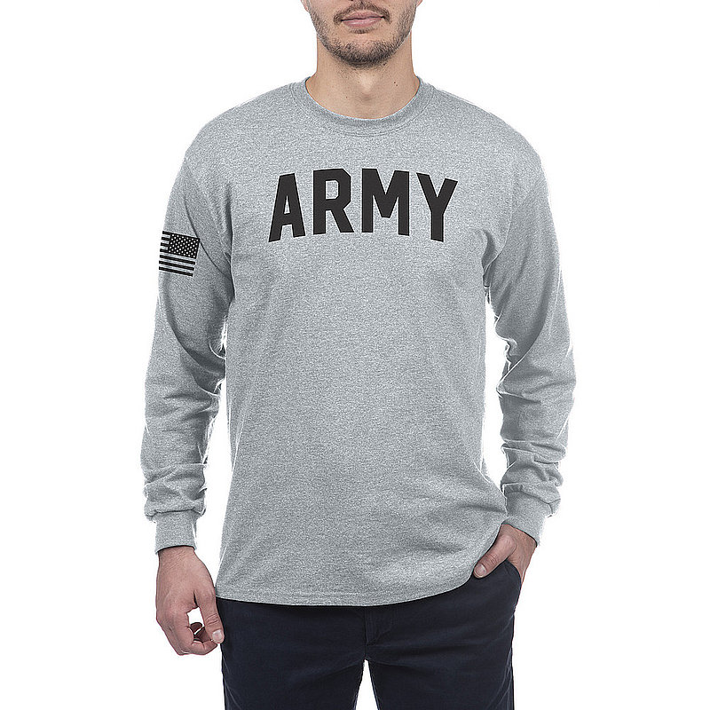 US Army Armed Forces Military Long Sleeve Tshirt Gray