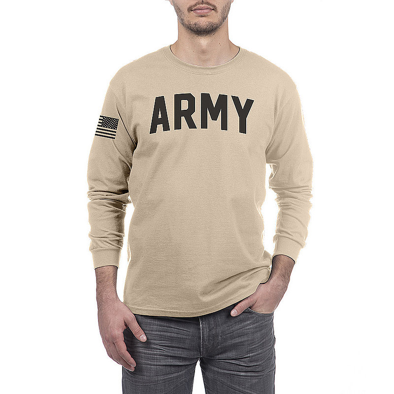 US Army Armed Forces Military Long Sleeve Tshirt Sand