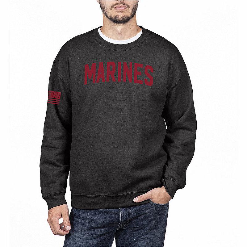 US Marine Corps Armed Forces Military Crewneck Sweatshirt Black