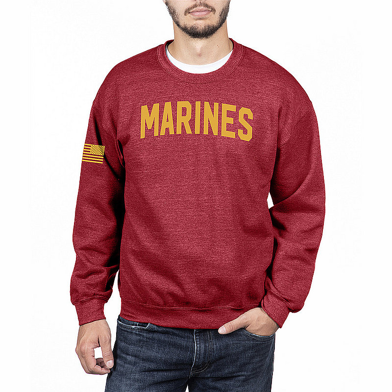 US Marine Corps Armed Forces Military Crewneck Sweatshirt Red