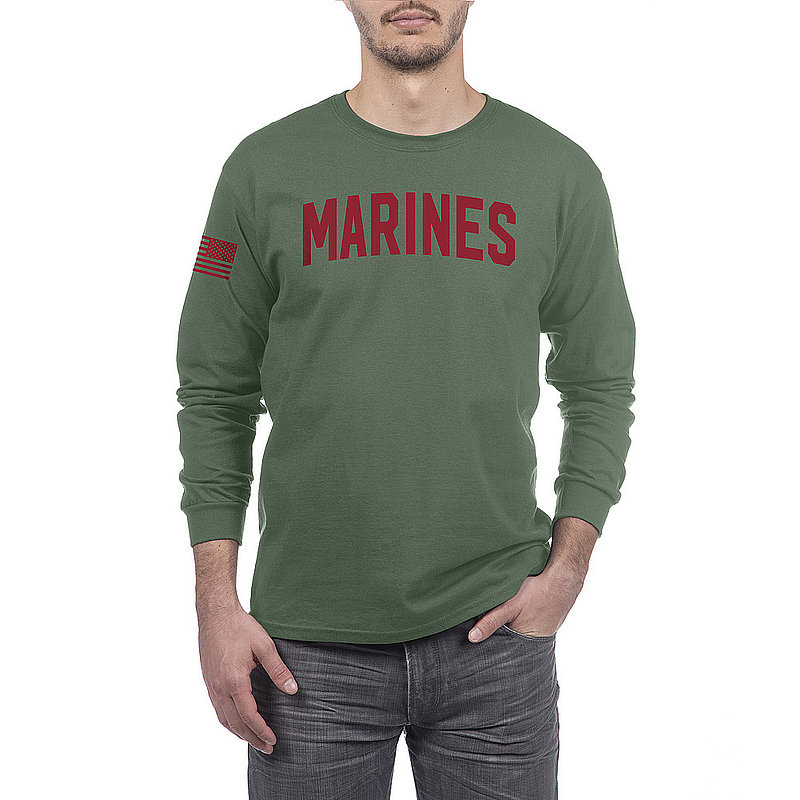 US Marine Corps Armed Forces Military Long Sleeve Tshirt Military Green