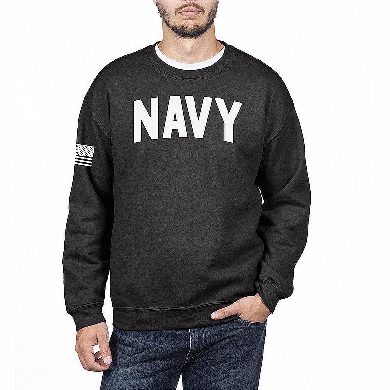 US Navy Armed Forces Military Crewneck Sweatshirt Black