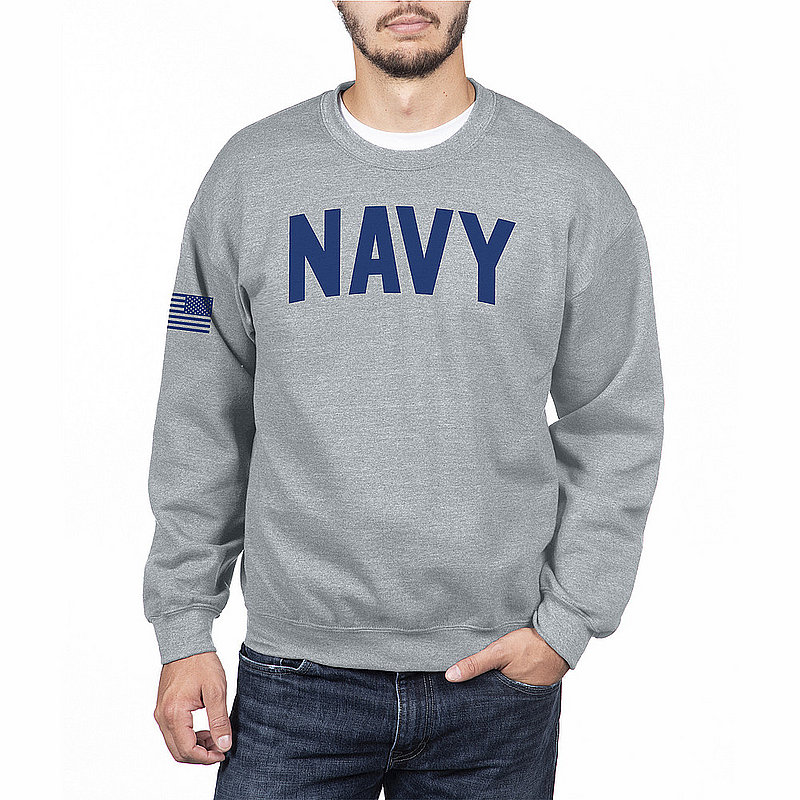 US Navy Armed Forces Military Crewneck Sweatshirt Gray