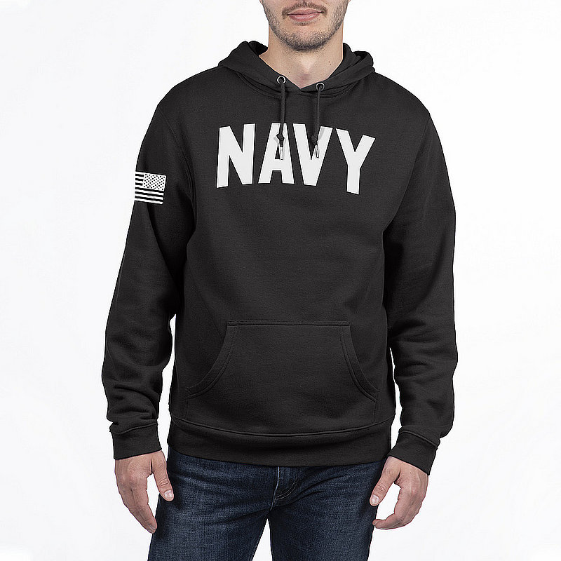 US Navy Armed Forces Military Hooded Sweatshirt Black