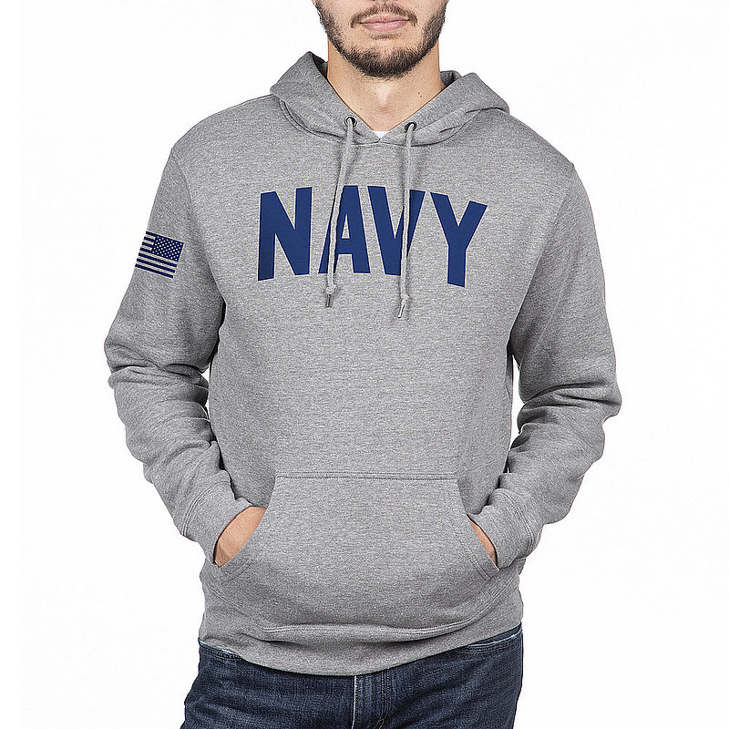 US Navy Armed Forces Military Hooded Sweatshirt Gray