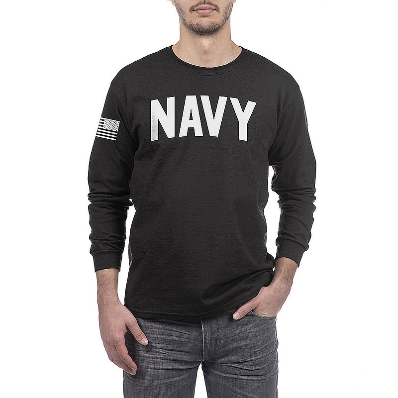 US Navy Armed Forces Military Long Sleeve Tshirt Black