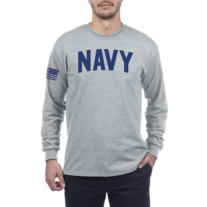 US Navy Armed Forces Military Long Sleeve Tshirt Gray
