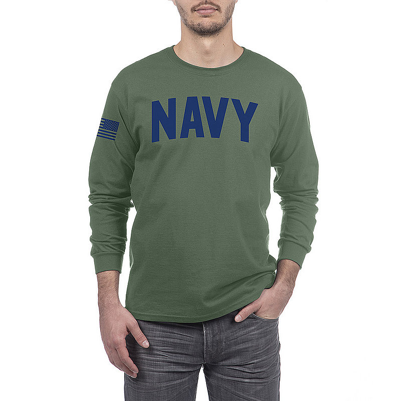 US Navy Armed Forces Military Long Sleeve Tshirt Military Green