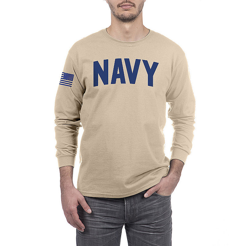 US Navy Armed Forces Military Long Sleeve Tshirt Sand