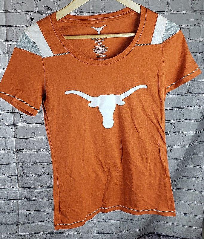 UT Longhorns Texas Womens Striped Shoulder Tshirt Icon Orange UT200220098.TXO