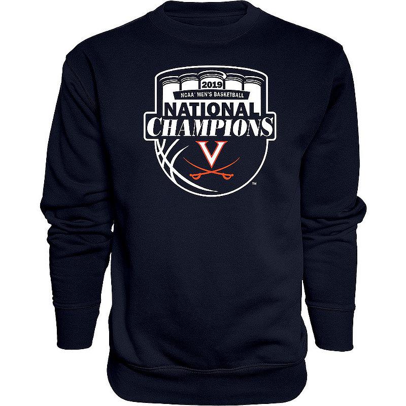UVA Virginia Cavaliers National Basketball Champions Crewneck Sweatshirt 2019 Official Logo Navy HOT MASCOT
