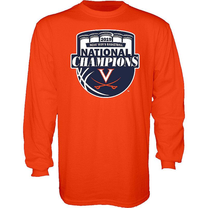 UVA Virginia Cavaliers National Basketball Champions Long Sleeve Tshirt 2019 Official Logo Orange HOT MASCOT