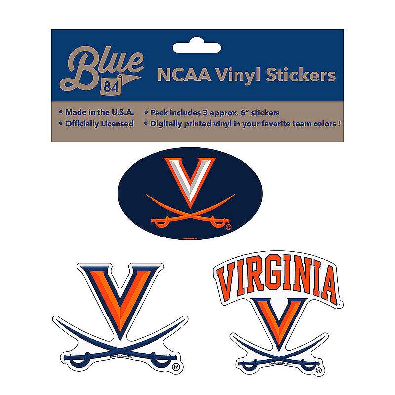 """Virginia Cavaliers 6"""" Vinyl Decal 3-Pack"""