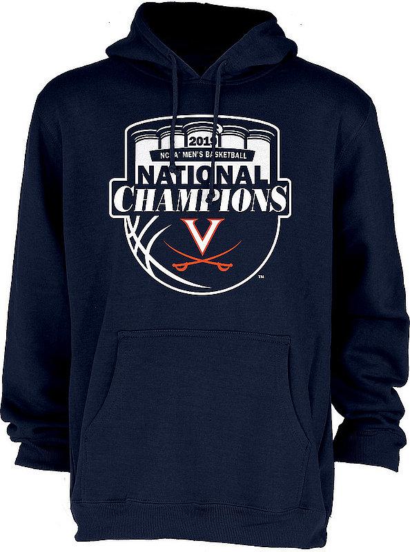 Virginia Cavaliers National Basketball Champions Hooded Sweatshirt 2019 Official Logo Navy HOT MASCOT