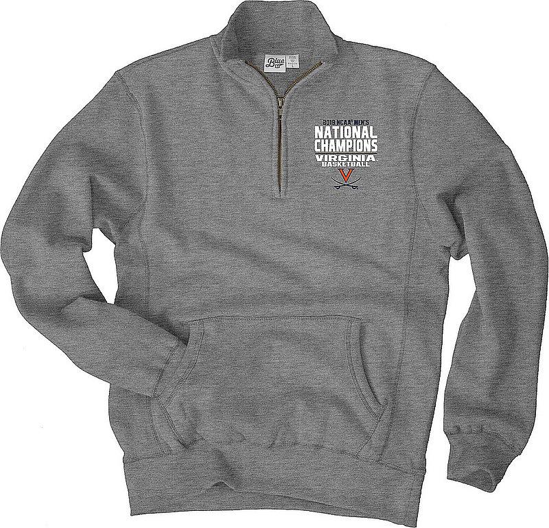 Virginia Cavaliers National Basketball Champions Quarter Zip Sweatshirt 2019 Gray HEADLINERS