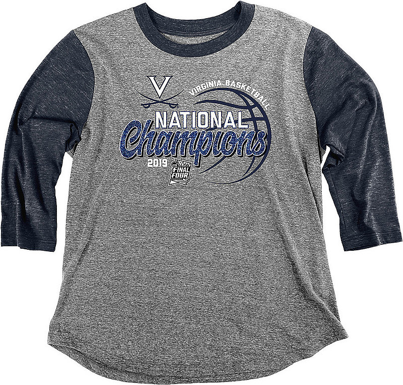 Virginia Cavaliers National Basketball Champions Womens 3/4th Sleeve Tshirt 2019 Glitter ZOODLES GLTR