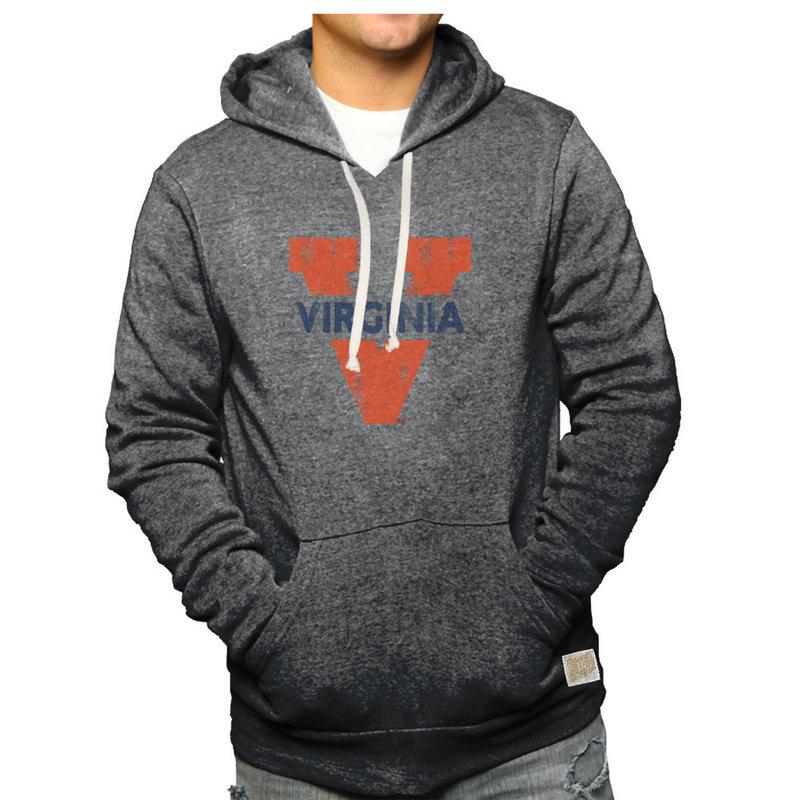 Virginia Cavaliers Retro Hooded Sweatshirt Charcoal CVIR420A_RB6090B_BKF
