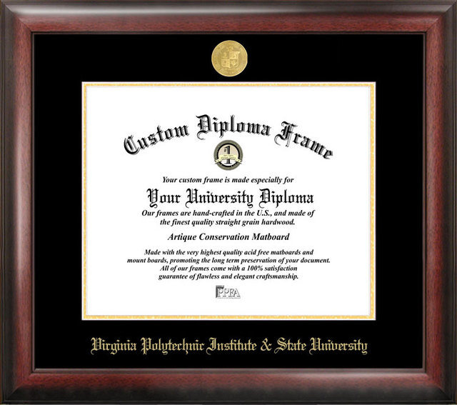 Virginia Tech Gold Embossed Diploma Frame DSCI-va999ged