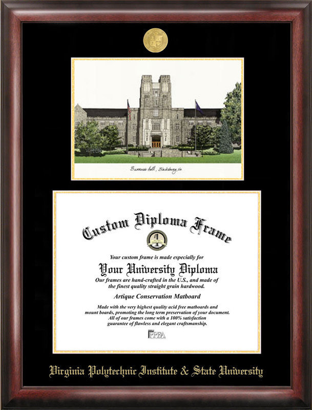 Virginia Tech Gold Embossed Diploma Frame With Lithograph DSCI-va999lged