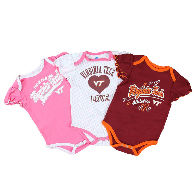 Virginia Tech Hokies Baby Girls Clothes 3 Pack