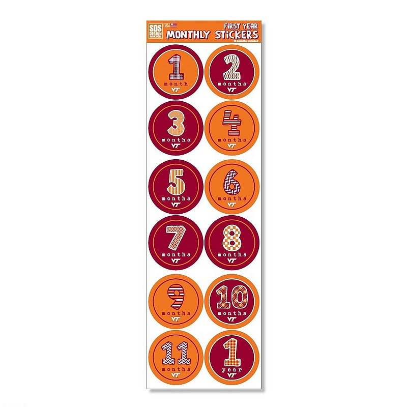 Virginia Tech Hokies Baby's First Year Monthly Stickers