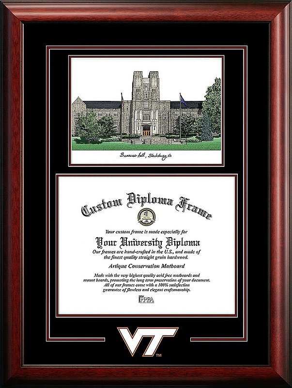 Virginia Tech Hokies Diploma Frame Spirit Graduate Burruss Hall DSCI-VA999SG