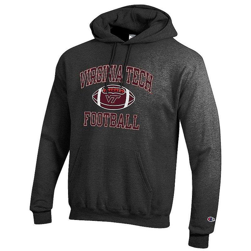 Virginia Tech Hokies Football Hooded Sweatshirt Charcoal APC03031049