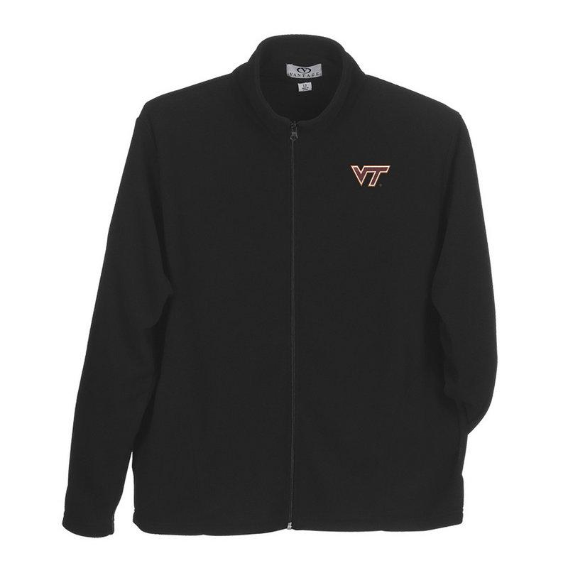Virginia Tech Hokies Full Zip Fleece Jacket Black 3100