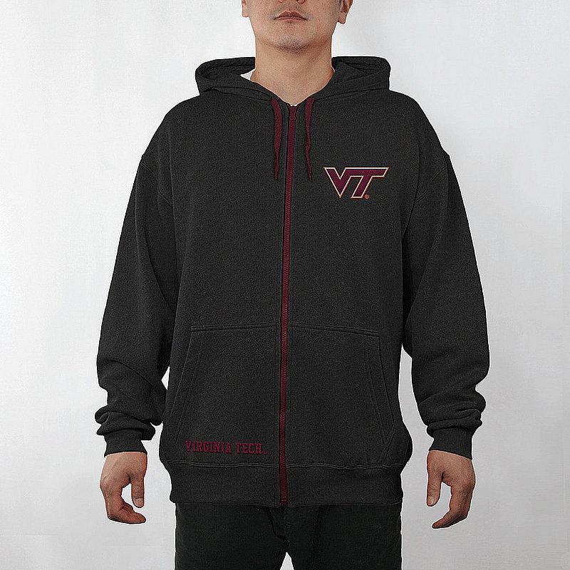 Virginia Tech Hokies Full Zip Hooded Sweatshirt Captain Black VIT29704