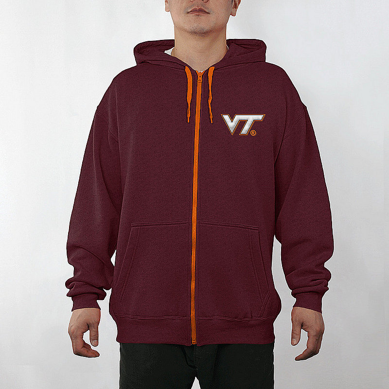 Virginia Tech Hokies Full Zip Hooded Sweatshirt Captain Maroon VIT29803