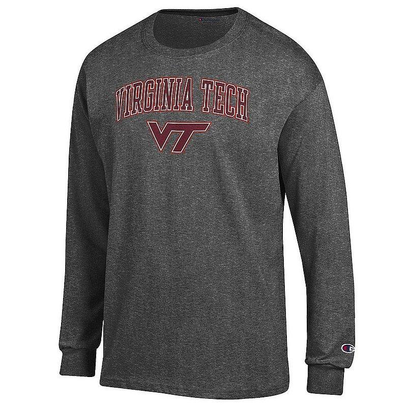Virginia Tech Hokies Long Sleeve TShirt Varsity Charcoal Arch Over APC02974299*