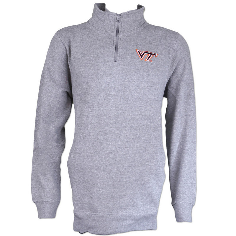Virginia Tech Hokies Longsleeve Quarter Zip Gray 40N58 Virginia Tech