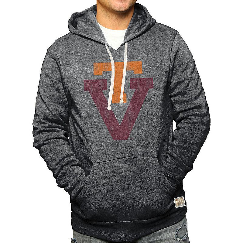 Virginia Tech Hokies Retro Hooded Sweatshirt Charcoal CVAT061A_BKF