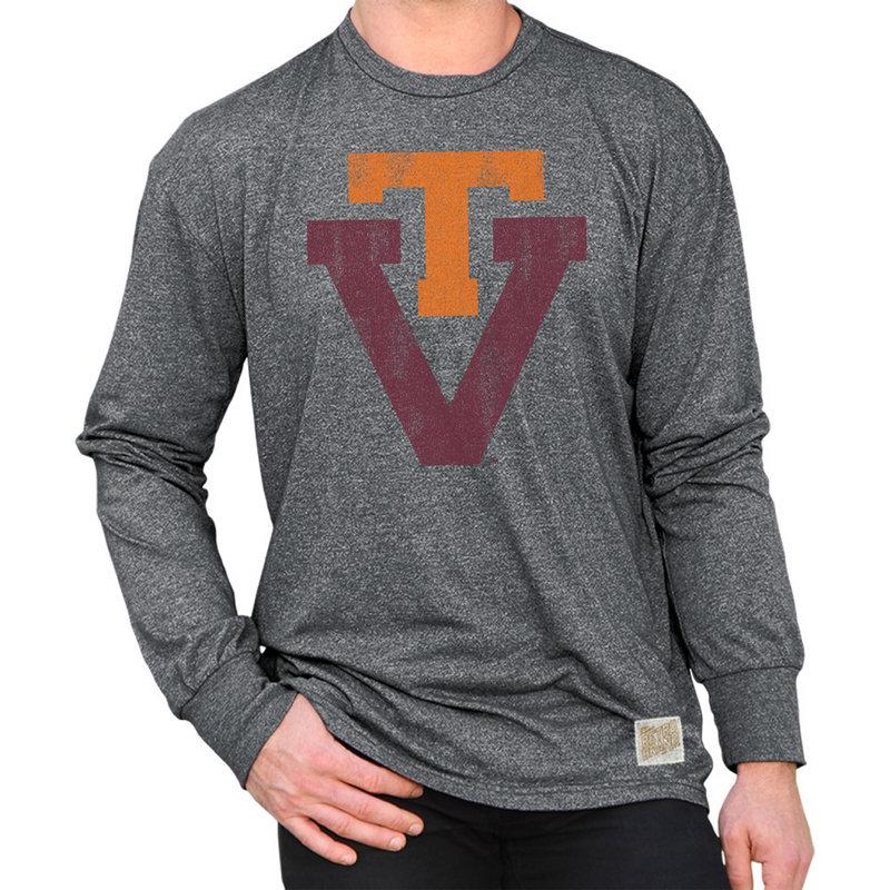 Virginia Tech Hokies Retro Long Sleeve TShirt Charcoal CVAT061A_MTCH
