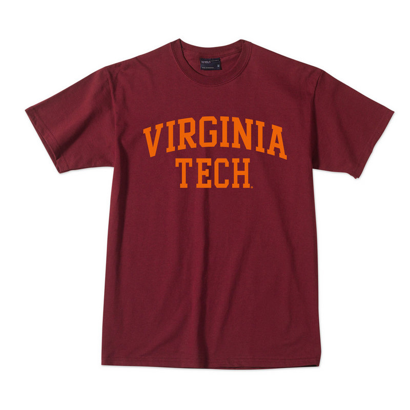 Virginia Tech Hokies TShirt Maroon with Orange Bold Block