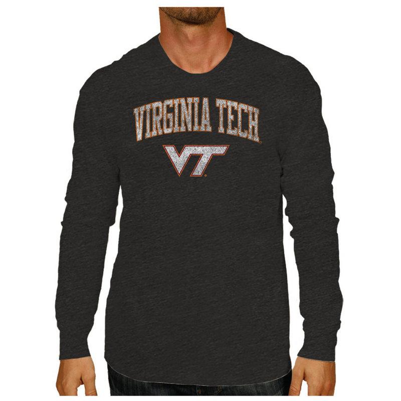Virginia Tech Hokies Vintage Long Sleeve Tshirt Charcoal Victory VATV1412A_TV402M_HBK