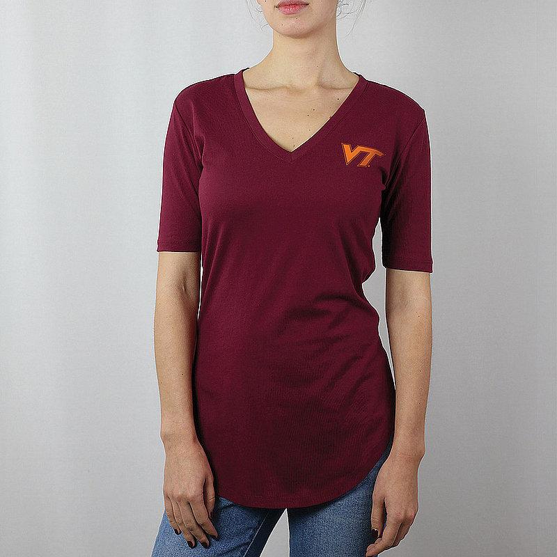 Virginia Tech Hokies Women's Curved Hem TShirt Captain Maroon VITJV603