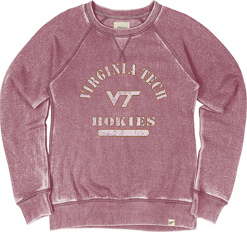 Virginia Tech Hokies Womens Burnout Crewneck Sweatshirt Vintage S79N_JBWFC_CRANBRY